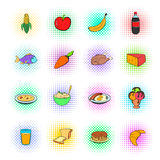 Food icons set, pop-art style Stock Images