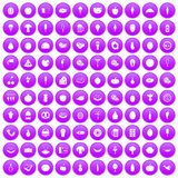 100 food icons set purple. 100 food icons set in purple circle isolated on white vector illustration Stock Illustration