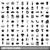 100 food icons set in simple style Royalty Free Stock Image