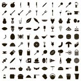 100 food icons set, simple style. 100 food icons set in simple style on a white background stock illustration