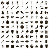 100 food icons set, simple style Stock Photos