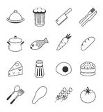Food icons set. Vector food icons set 16 black color Stock Image