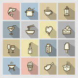 Food icons set. Vector color food icons set royalty free illustration