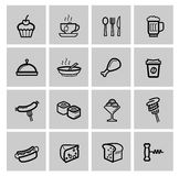 Food icons set. Vector food icons set on gray stock illustration