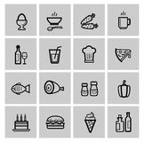Food icons set. Vector food icons set on gray royalty free illustration