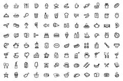 Food icons set. Vector food icons set on gray