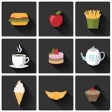 Food icons set Royalty Free Stock Photography