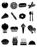 Food Icons Set. Vector illustration of food black icons set on a white background Stock Image