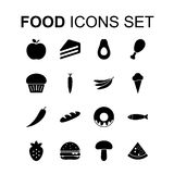 Food icons set. Vector illustration. Food icons set. Silhouette flat design vector illustration Royalty Free Stock Image