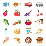 Food icons set. Vector set of various food icons vector illustration