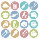 Food icons set. Vector white icons food set 16 with color circle Royalty Free Stock Image