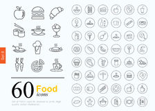 60 food icons. Set of food icons for web or services. 60 line icons high quality, vector illustration stock illustration