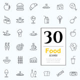 30 food icons. Set of food icons for web or services. 30 line icons high quality, vector illustration Stock Photo