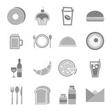 Food icons set on white background Royalty Free Stock Image