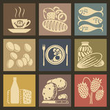 Food Icons. Soviet food retro icons and buttons set vector illustration