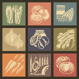 Food Icons 1. Soviet food retro icons and buttons set1 stock illustration