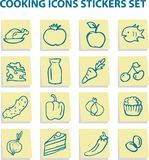 Food icons stickers set Royalty Free Stock Images