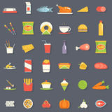 Food Icons and Symbols Set Retro Flat Vector Illustration Stock Images