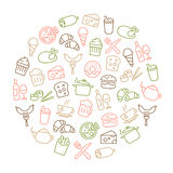 Food Icons Thin Line Background Royalty Free Stock Image
