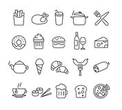 Food Icons Thin Lines Stock Photography