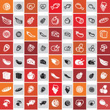 Food icons. 20 food icons in two styles Vector Illustration