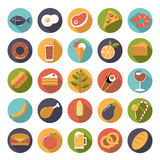 Food icons vector set. Collection of 25 flat design food and drink vector icons Stock Images
