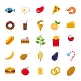 Food icons vector set. Collection of 25 flat design food and drink vector icons Royalty Free Stock Photo