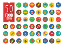 Food Icons Vector Set. Fruit, Kitchen and Drinks Stock Photos