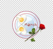 Food idea for 8 march, fried heart eggs and rose. Happy women`s day vector illustration, clip art with number eight shaped heart omelette on plate with ketchup royalty free illustration