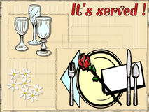 Food illustration. This is card with dinner service Stock Photography