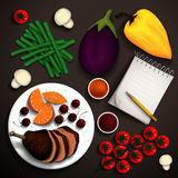 Food illustration. Baked duck and vegetables for a delicious dish and a notebook for recipes. Place for your text. Vector illustration Stock Photos