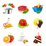 Food illustration icons Royalty Free Stock Images