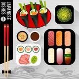 Food Illustration, Japanese dishes. Stock Photo