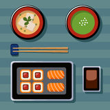 Food Illustration. Japanese food. Vector flat illustrations. View from above Stock Photos