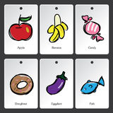 Food illustration vocabulary card Stock Photography