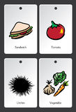 Food illustration vocabulary card Stock Images