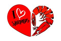 Cartoon red shrimp, second part of heart isolated on white background. Seafood dinner vector design silhouette. Typography I love shrimps. Restaurant and cafe royalty free illustration