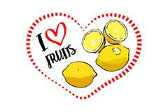 Dotted line red heart shape with Two whole lemons and one lemon cut in half. Dotted line red heart shape with I love fruits hand drawn text inside. Yellow royalty free illustration