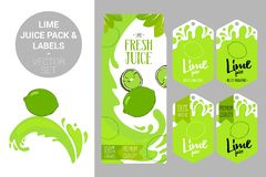 Lime juice pack and organic fruit labels tags. Colorful tropical stickers. Juicy exotic fruit badges with splashes. Cartoon green lime on juice splash. lime royalty free illustration