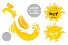 Fruit vector package set of cartoon orange cuts on juice splashes. Organic fruit labels tags and orange juice text. Colorful orange piece stickers. Citrus stock illustration