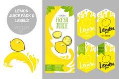 Lemon juice pack and organic fruit labels tags. Colorful tropical stickers. Juicy exotic fruit badges with splashes. Cartoon lemon on juice splash. lemon juice vector illustration