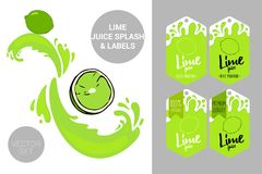 Organic fruit labels tags and lime juice text. Colorful tropical stickers. Juicy exotic fruit badges. Cartoon lime cut with juice splashes. Organic fruit labels royalty free illustration