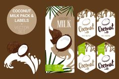 coconut milk pack with palm leaves, organic labels tags. Colorful tropical stickers. exotic fruit badges vector illustration