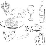 Food Illustrations. An collection of various food illustrations Royalty Free Stock Photos