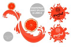Fruit package set of cartoon grapefruit cuts on juice splashes. Organic fruit labels tags and grapefruit juice text royalty free illustration