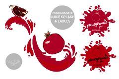 Red pomegranate with seeds on juice splashes. Organic fruit labels tags and pomegranate juice text. royalty free illustration