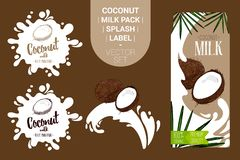 Fresh coconut milk pack with Organic labels tags and green palm leaves. royalty free illustration