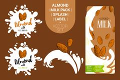 Almond nuts on juice splash. Fresh almond milk pack with Organic labels tags and hand drawn nuts. royalty free illustration