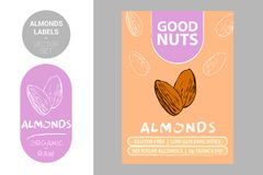 Almond nuts labels with green elements. Cartoon drawn nut silhouettes. Almonds product Badge royalty free illustration