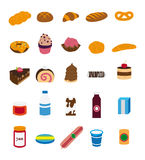 Food illustrations collection. Sweets, pastry, foodstuffs. Vector illustration icon set Royalty Free Stock Images